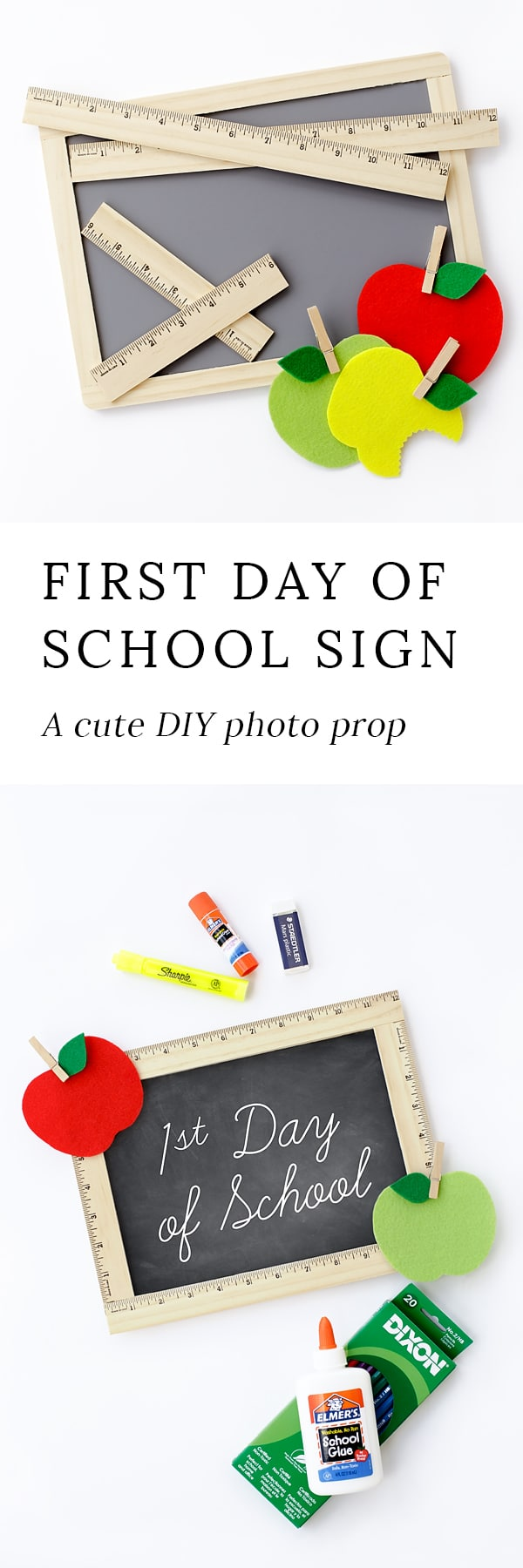 Take first day of school photos you will cherish forever with this easy DIY First Day of School Sign. It's perfect for home or school!