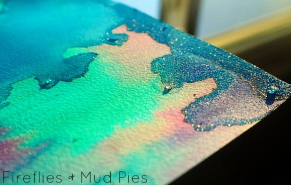 salt crystals on watercolor painting