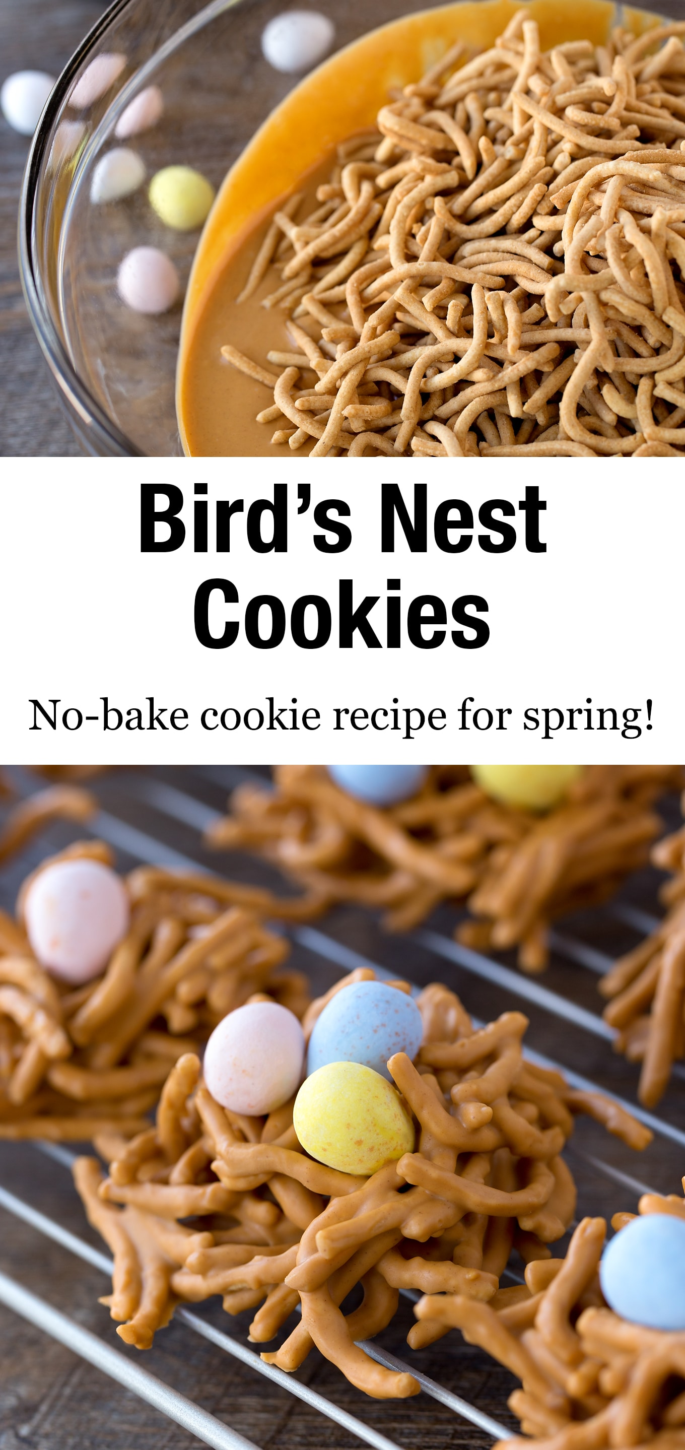 No-bake Bird's Nest Cookies, commonly known as Haystacks, are given a nest-inspired twist when decorated with creamy chocolate eggs. #birdsnestcookies #nobake #chowmein #cookierecipes via @firefliesandmudpies