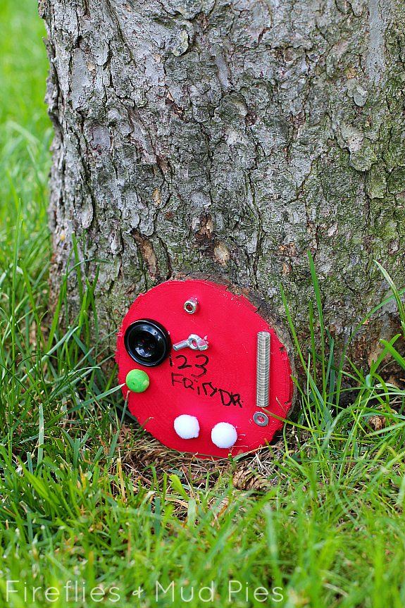 A little fairy door with lost things for tinkering around with! - Fireflies and Mud Pies
