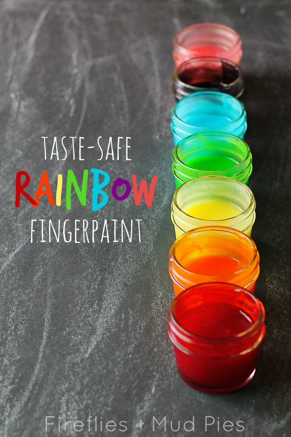 Taste-Safe Rainbow Fingerpaint - Fireflies and Mud Pies