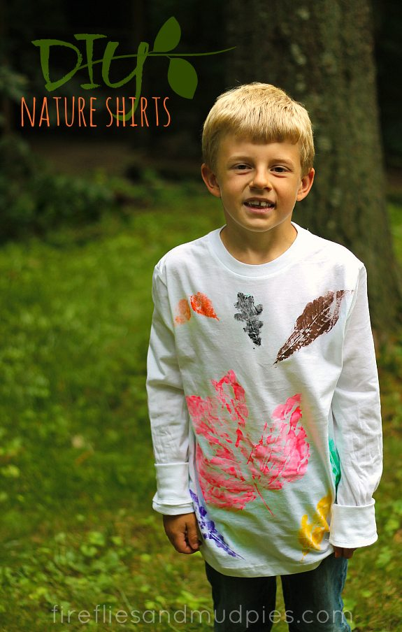 DIY Stamped Nature Shirts - Fireflies and Mud Pies