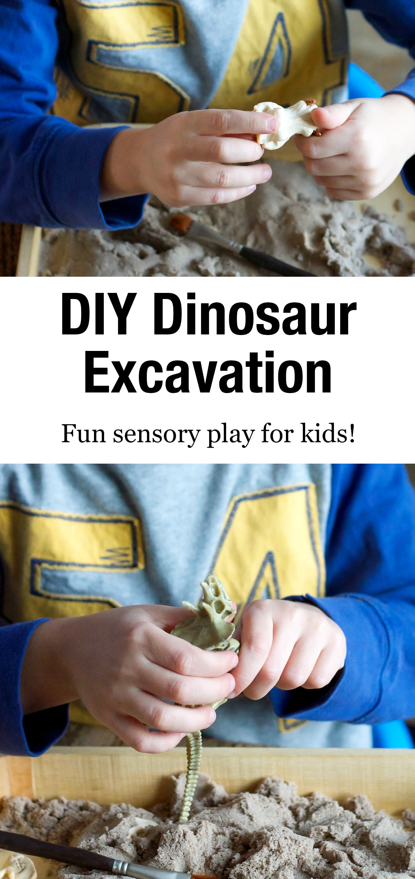 Learn how to make a DIY Dinosaur Dig sensory bin for your pint-sized paleontologist! It's an easy and fun way for kids to learn about dinosaurs. #dinosaurdig #sensorybin #preschool #kidsactivities via @firefliesandmudpies