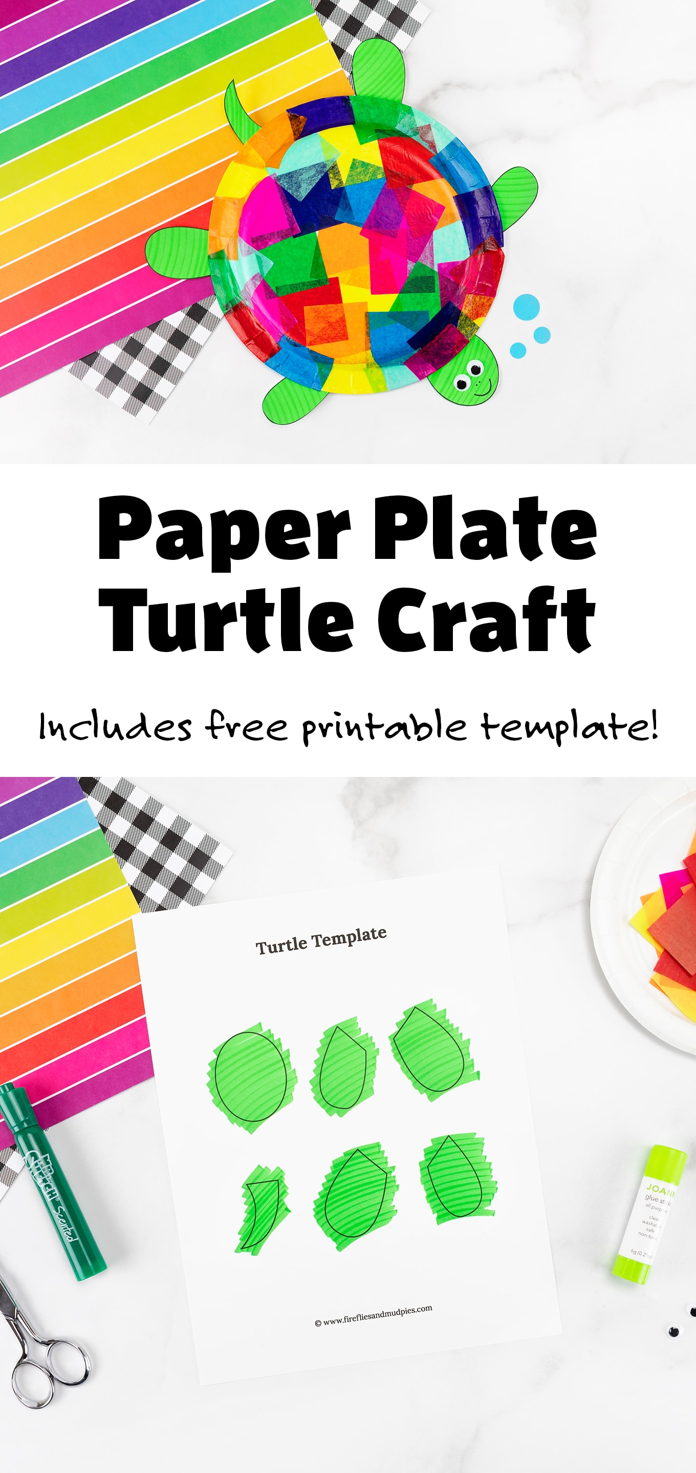 This easy and fun Tissue Paper and Paper Plate Turtle craft includes a free printable template, making it perfect for home, school, daycare, or camp. #turtlecrafts #paperplatecrafts #turtles #tissuepapercrafts #printablecrafts #preschoolcrafts #easycraftsforkids #turtlecraftideas #easyturtlecrafts via @firefliesandmudpies