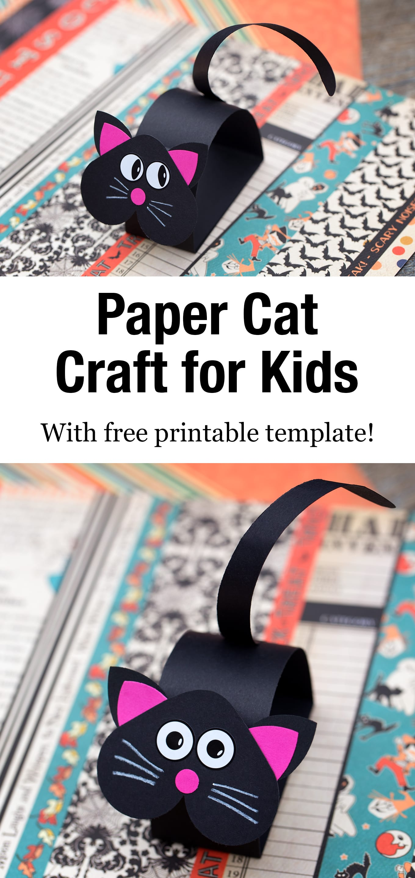 Kids of all ages can learn how to make an easy and fun paper cat craft with our free printable template! #catcraft #papercatcraft #kidscraft #catcraftforkids via @firefliesandmudpies