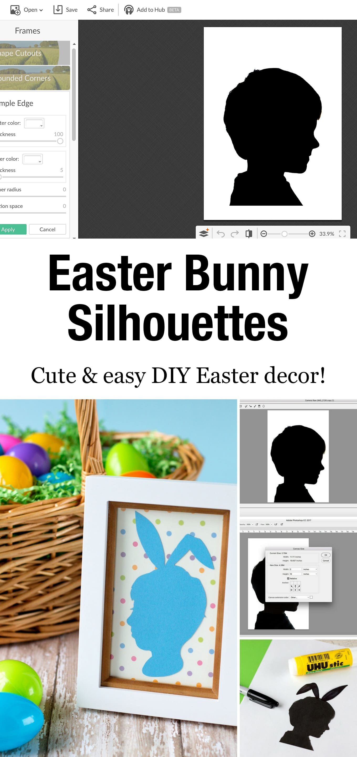 Easter Silhouette Portraits are an easy and fun Easter keepsake craft to make with your kids and enjoy year after year. It also makes a great gift! #easterkeepsakecraft #easter #silhouettecrafts #photocrafts #preschoolcrafts via @firefliesandmudpies