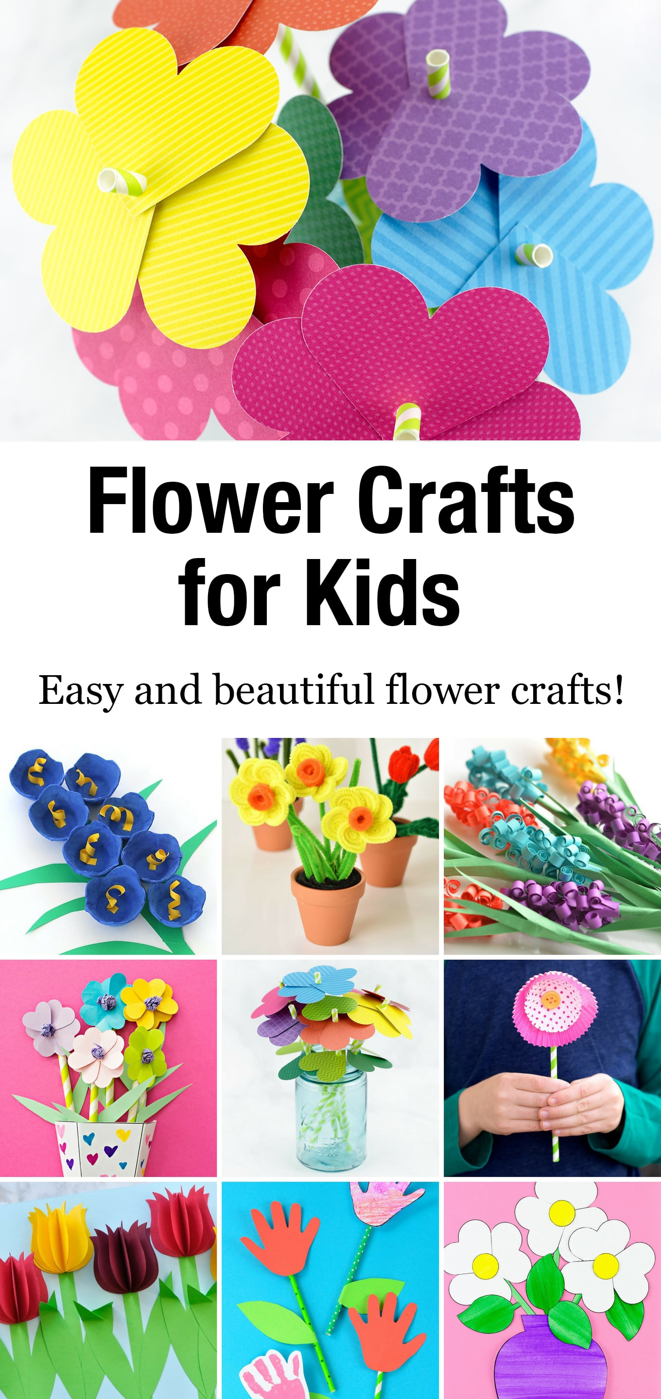 These easy and beautifulflower crafts for kids are perfect for spring crafting, Mother's Day, or just an afternoon of fun! #flowercrafts #forkids #spring #diy via @firefliesandmudpies