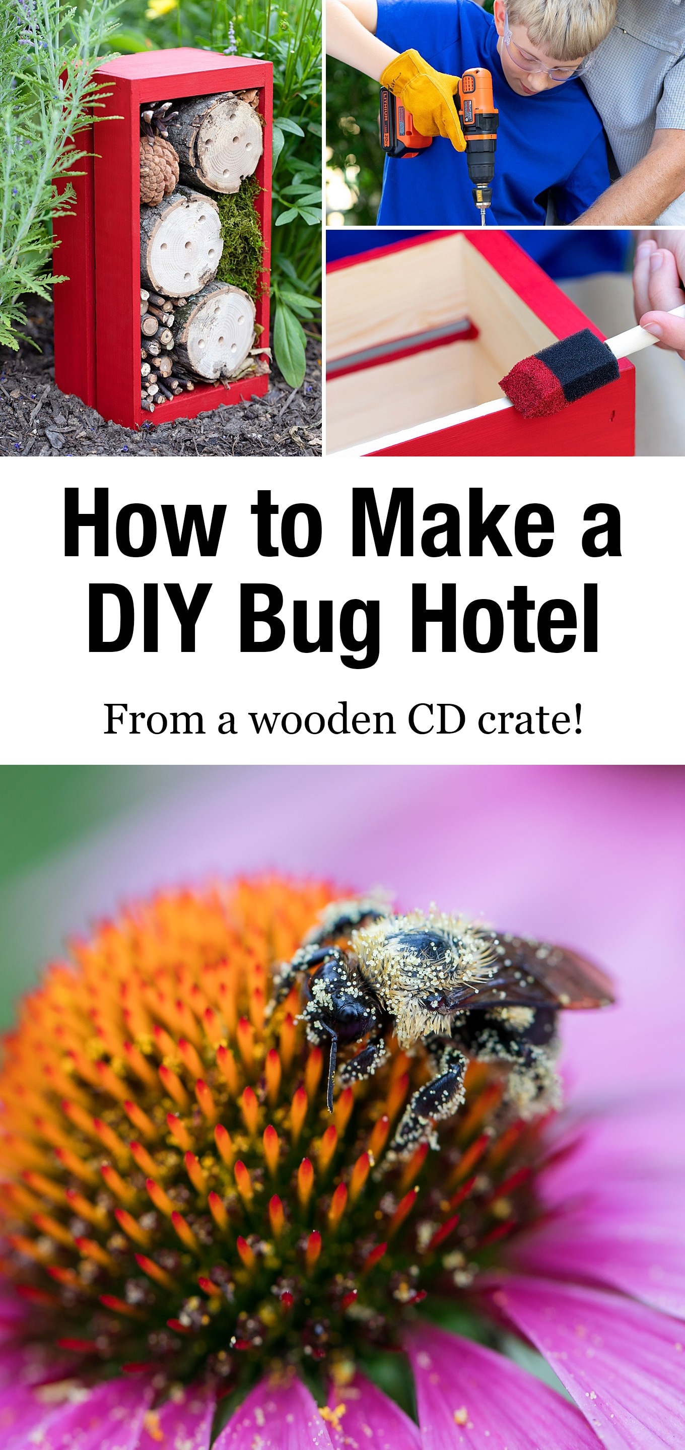 Learn how to make an easy DIY bug hotel with a wooden CD crate, logs, and other natural materials such as pine cones, sticks, moss, and leaves. This simple insect home is the perfect summer craft for kids! #bughotel #bughouse #insecthouse via @firefliesandmudpies