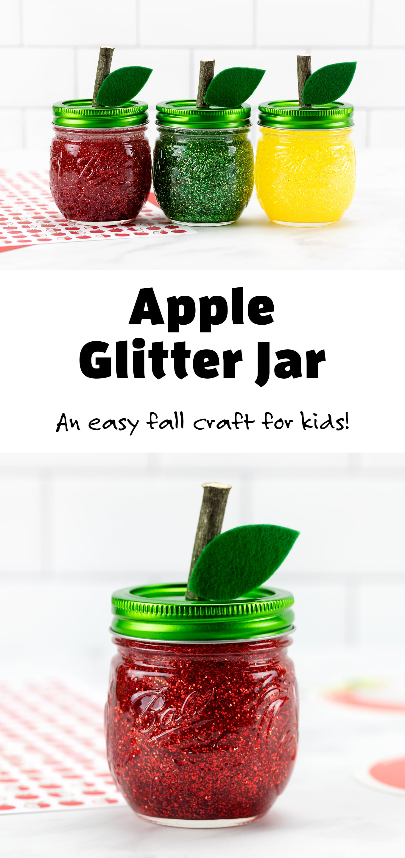 Making apple glitter jarsto welcome September is an easy and fun mason jar project for kids! In this post, learn how to make red, yellow, and green apple-shapedglitter jars that are perfect for calming back-to-school jitters. #glitterjars #appleglitterjars #fallcrafts via @firefliesandmudpies