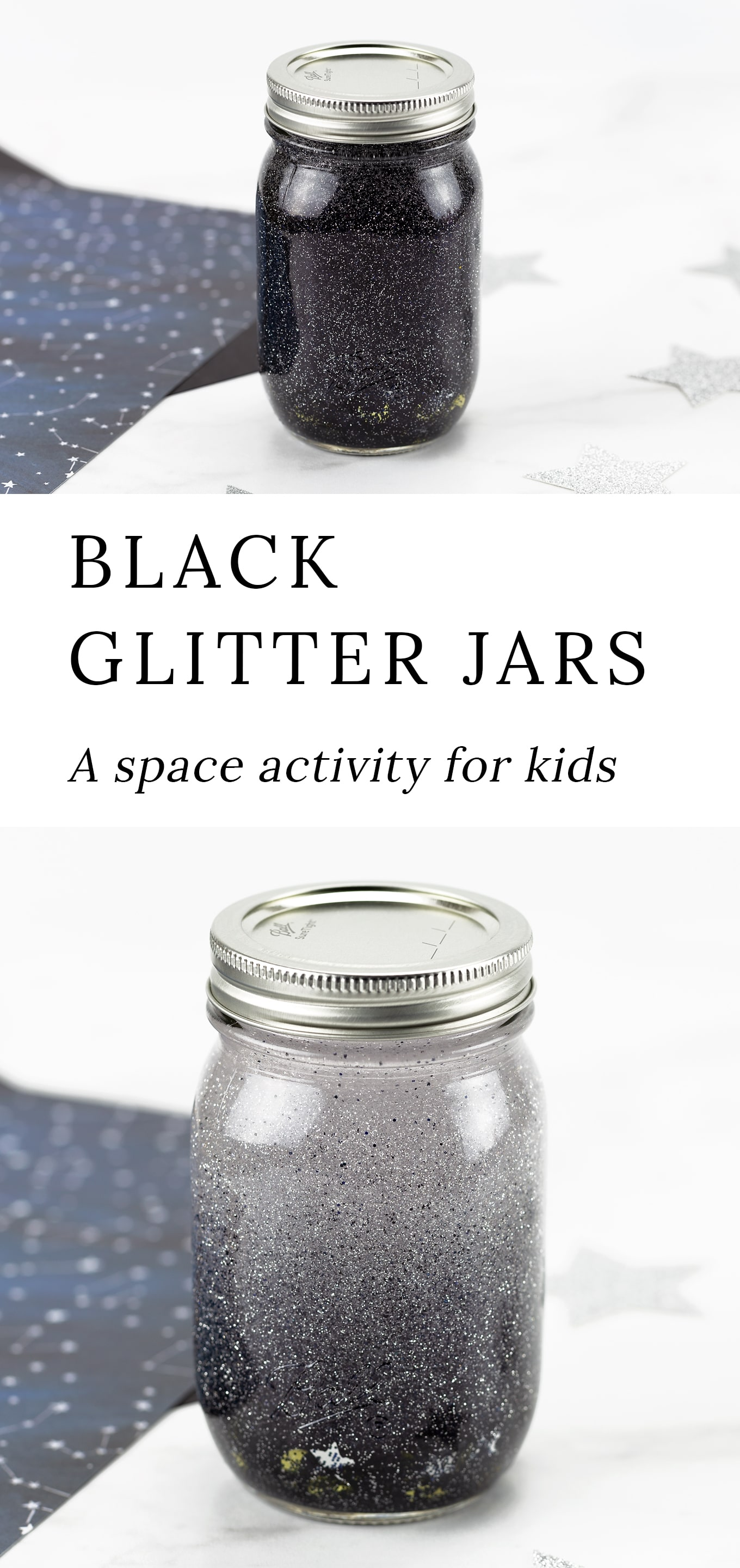 Follow along with our easy step-by-step directions and video tutorial so you can learn how to make your own mesmerizing Black Glitter Jars! Simple and fun for kids! via @firefliesandmudpies