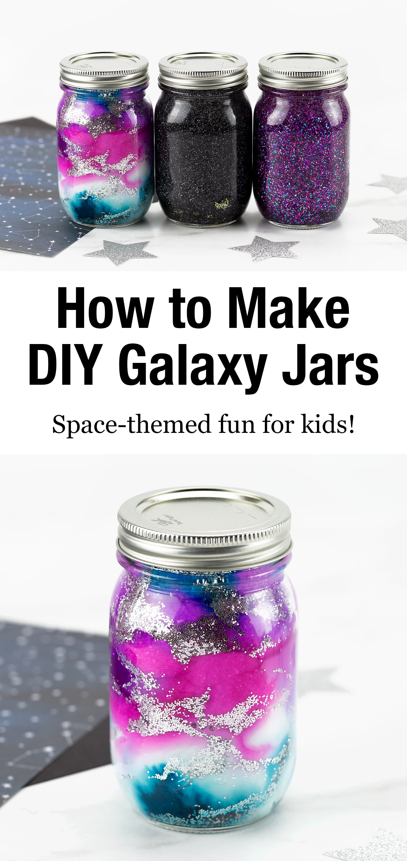 Follow along with our easy step-by-step directions and video tutorial so you can learn how to make your own mesmerizing Galaxy Glitter Jars! Simple and fun for kids! via @firefliesandmudpies
