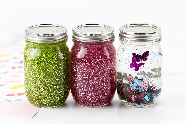 Beautiful Spring Glitter Jars