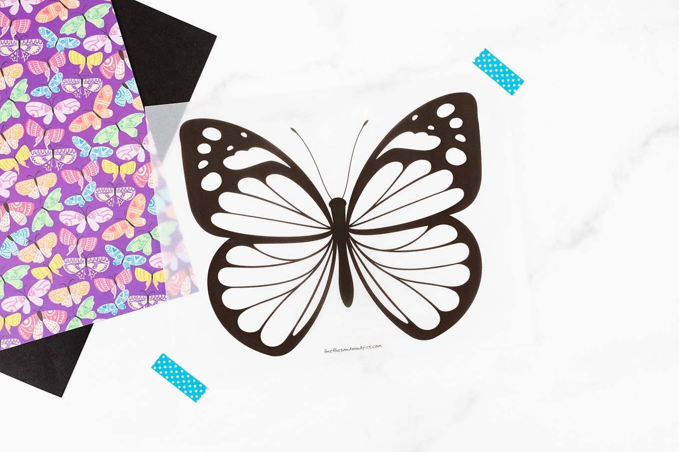 Butterfly Template Printed on Vellum