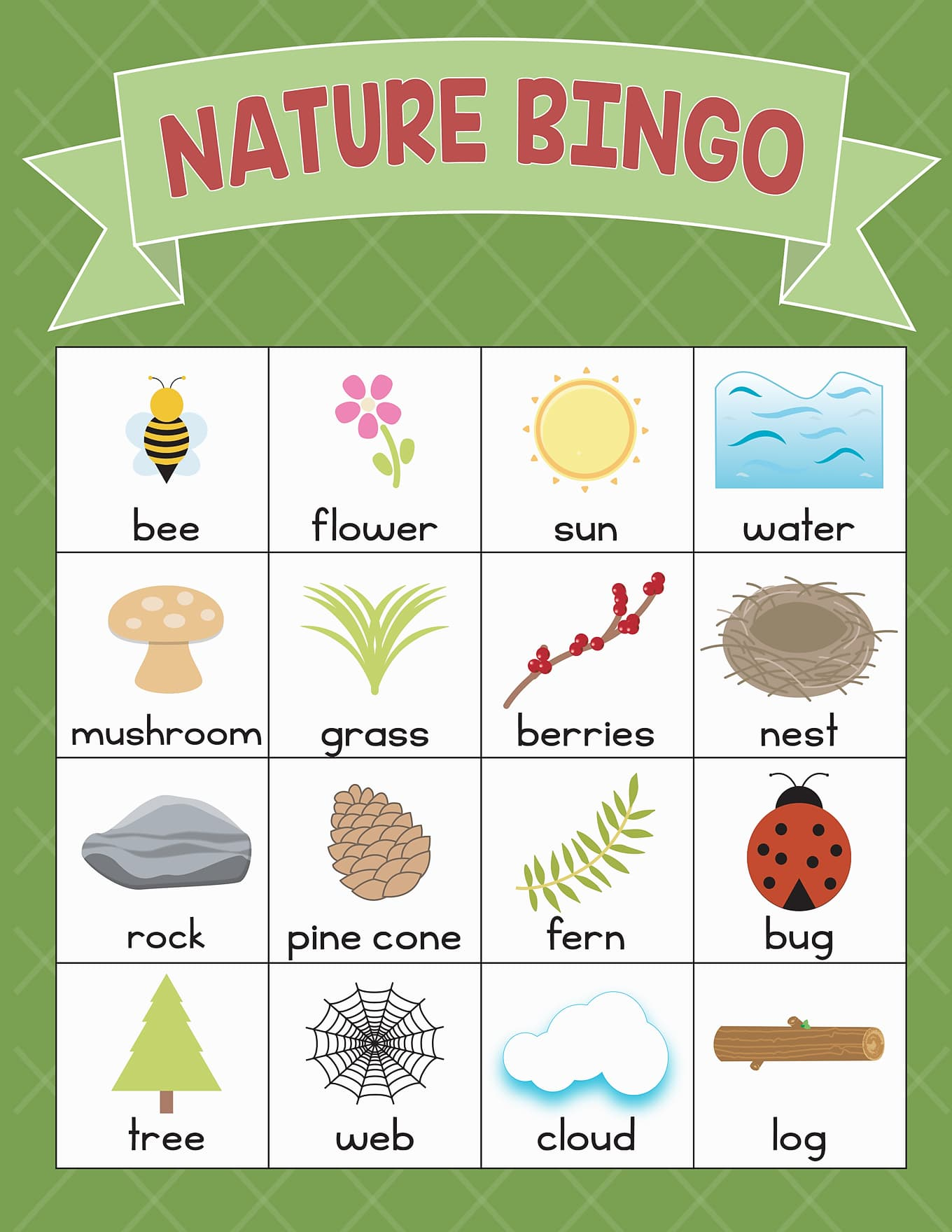 Green Nature BINGO Card