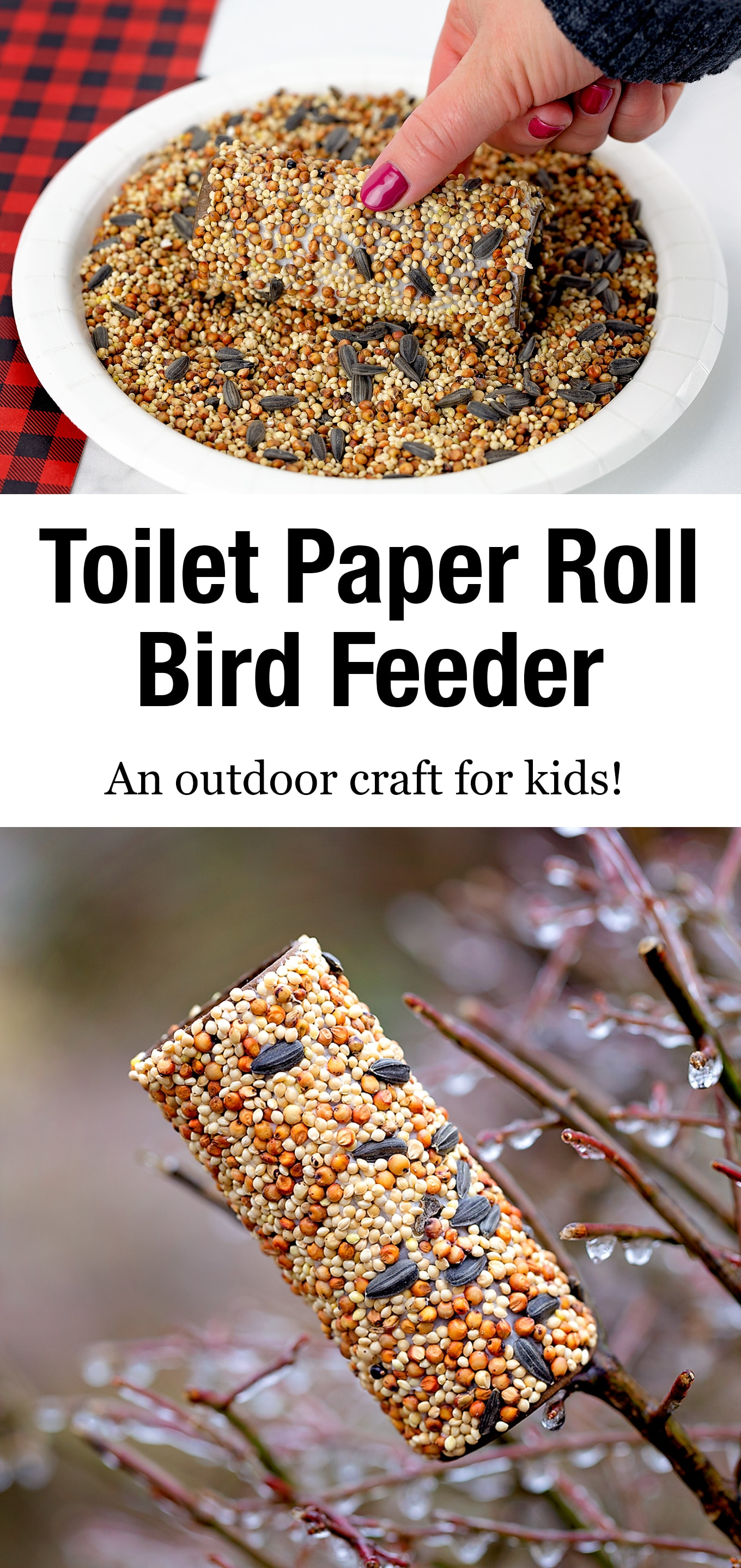 Wild birds will thank you for taking the time to make a Toilet Paper Roll Bird Feeder. It's an easy and fun bird feeder craft for kids of all ages! via @firefliesandmudpies