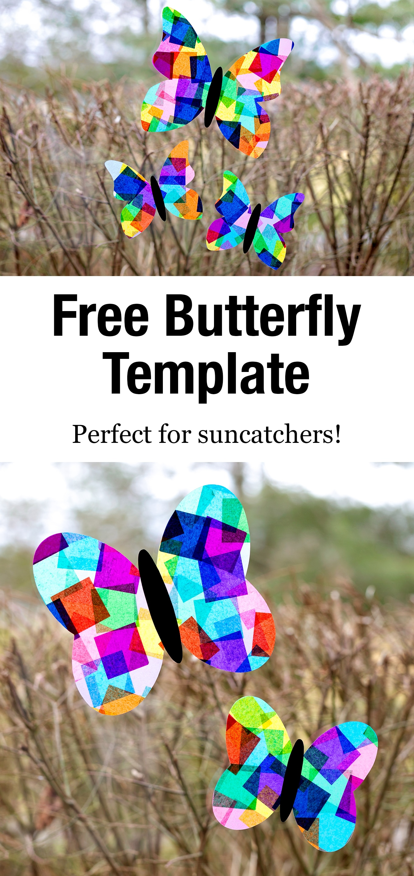 Our free printable butterfly template is perfect for butterfly crafts including suncatchers, simple paper crafts, painting, and more! #butterflytemplate #freeprintable #butterflycraft #suncatchersforkids #butterflysuncatcher via @firefliesandmudpies