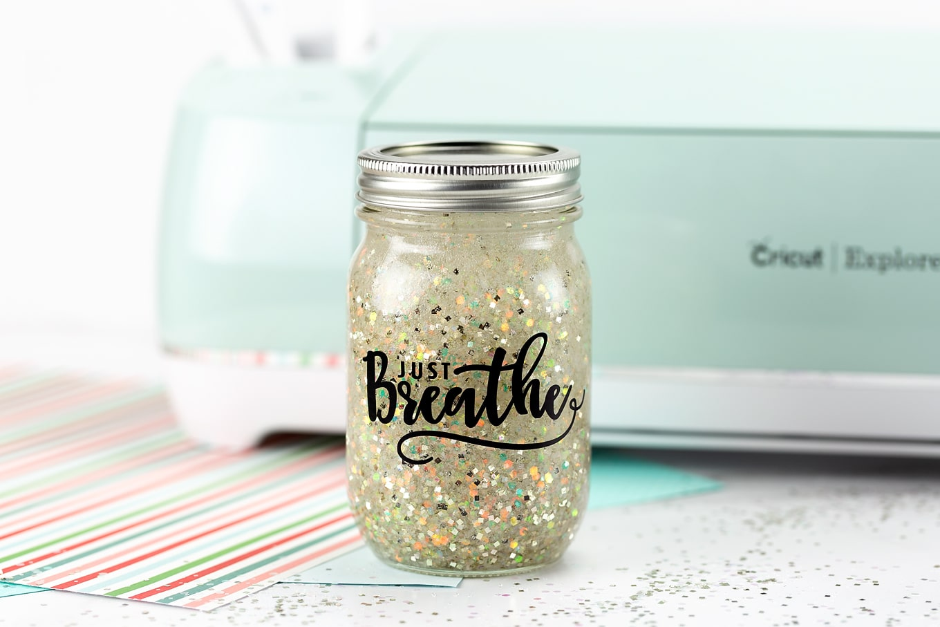 Just Breathe Glitter Jar Cricut Project