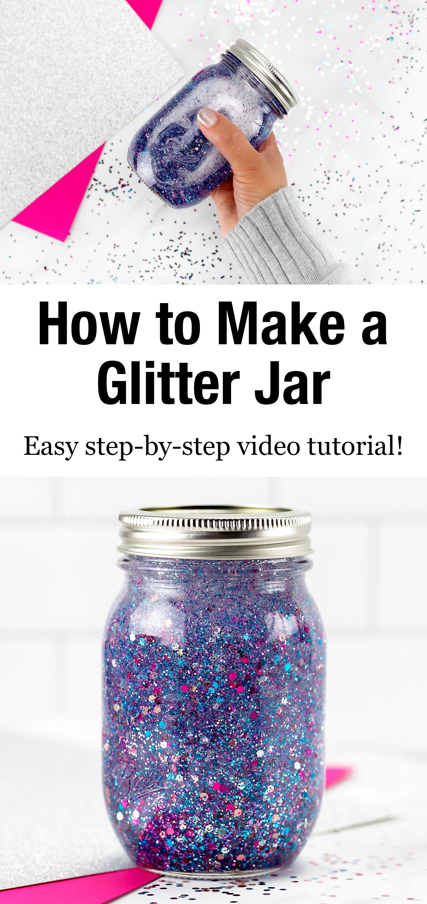 If you are looking for the ultimate resource on how to make a glitter jar, we've got you covered! Shared below is everything you need to know to make and use DIY glitter jars; a beautiful, calming, and easy sensory activity for kids. #glitterjar #howtomakeaglitterjar via @firefliesandmudpies