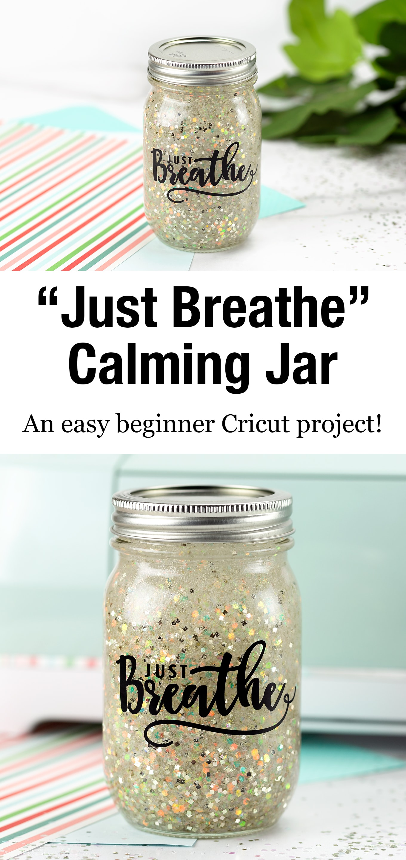 Learn how to make a DIY Calming Jar to help kids and adults work through strong emotions such as anger, sadness, or anxiety. #calmingjar #calmdownjar #glitterjar #cricutprojectsbeginner #cricutvinylcrafts #cricutprojects via @firefliesandmudpies