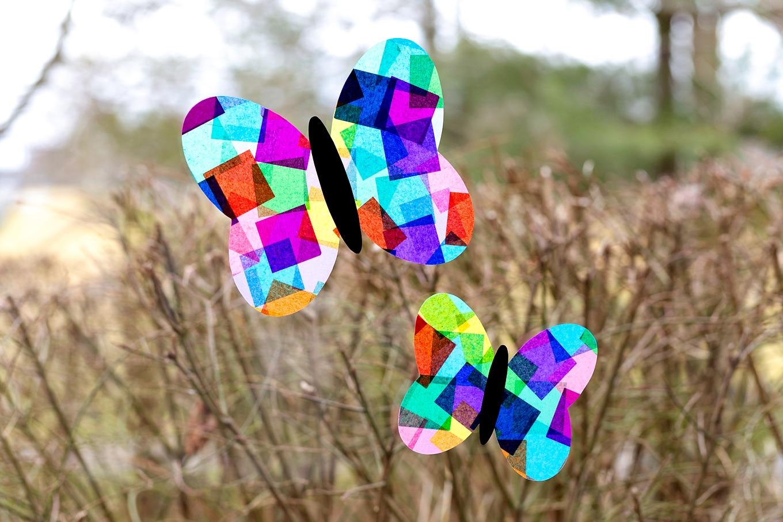 Tissue Paper Butterfly Suncatchers