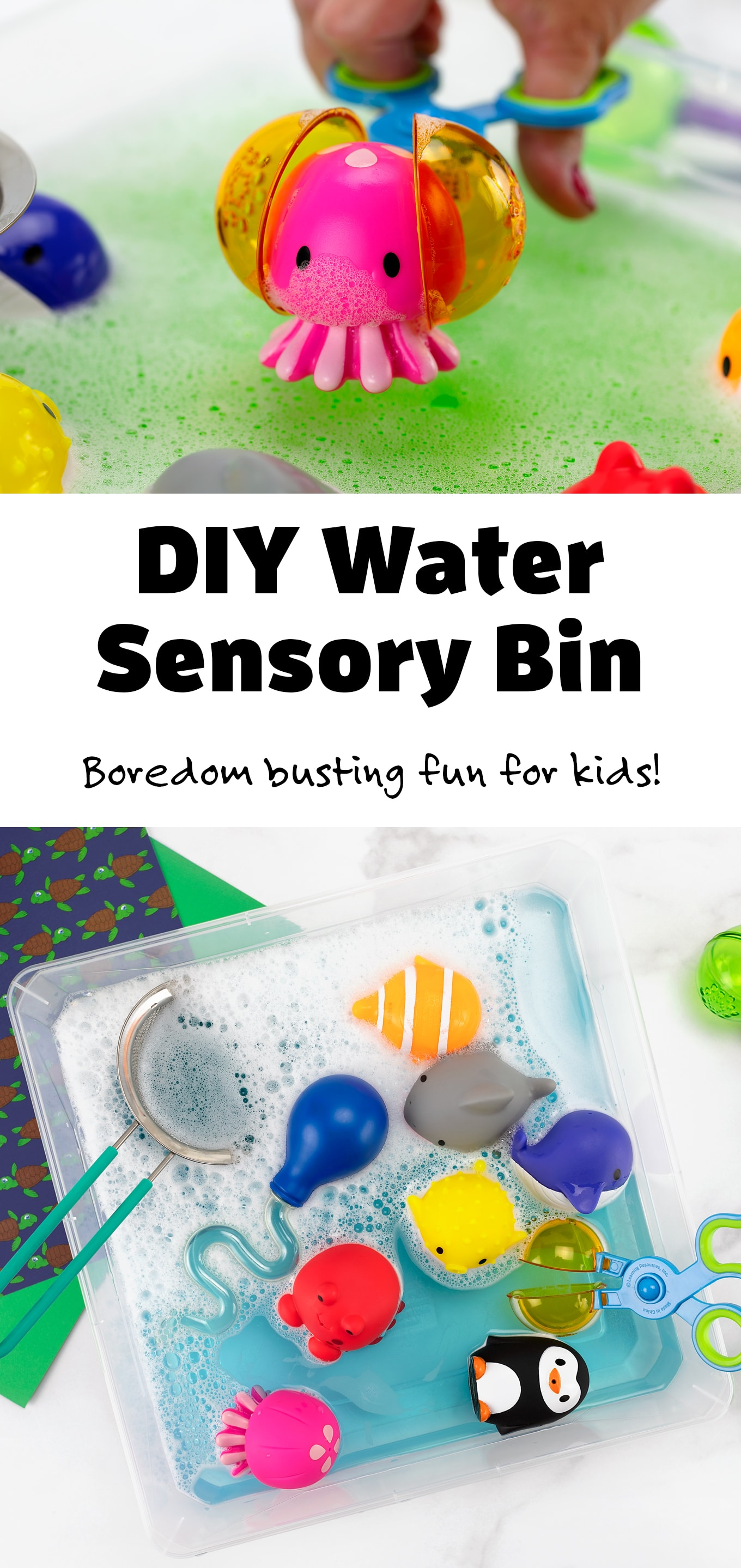 When my boys were little, water play was my number one sanity saver! In this post, learn how to make a simple Water Sensory Bin and how water play benefits a child's growth and development. #watersensorybin #sensorybin #toddlers #preschool #forbabies #easy via @firefliesandmudpies
