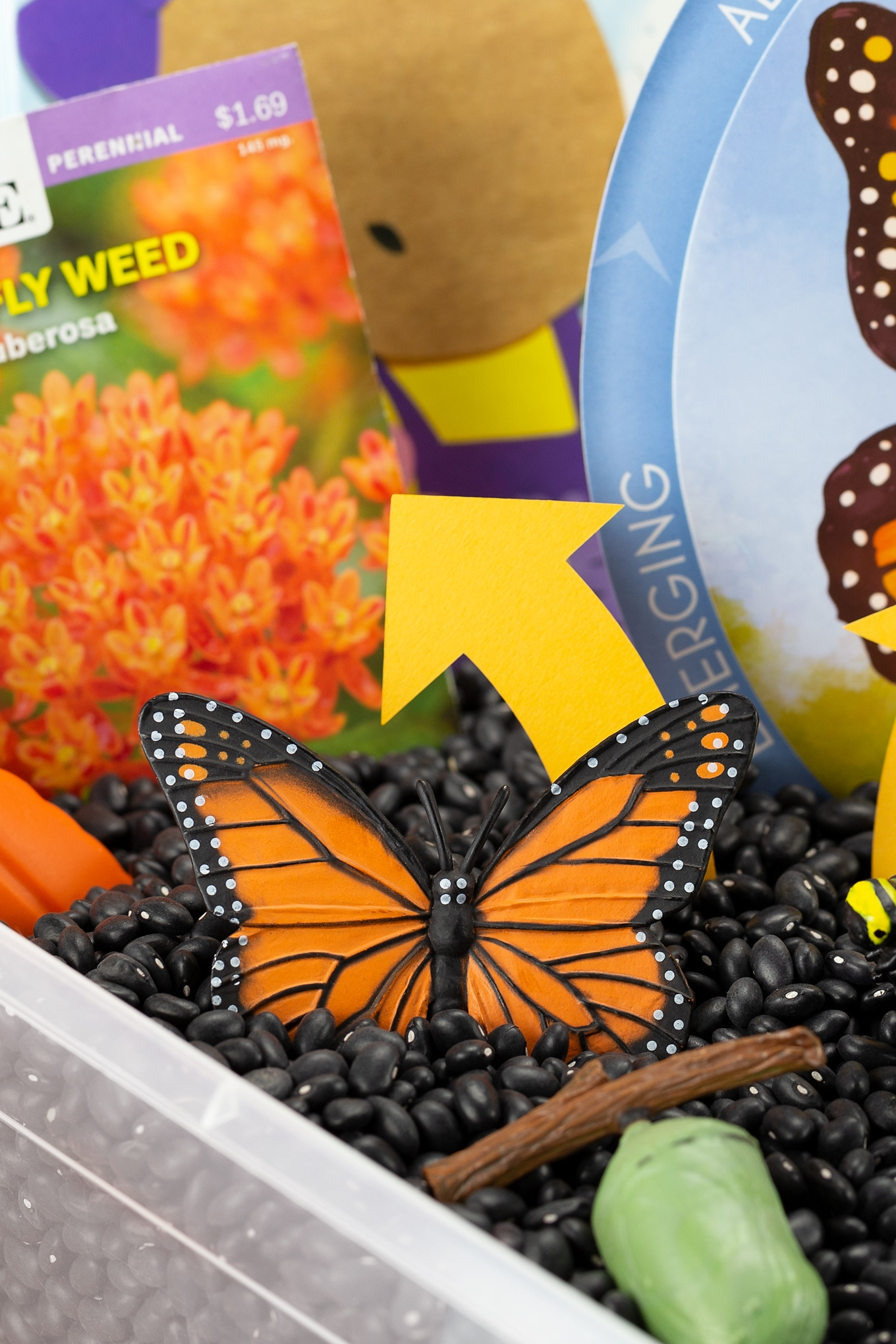 Monarch Butterfly Toy in a Sensory Bin