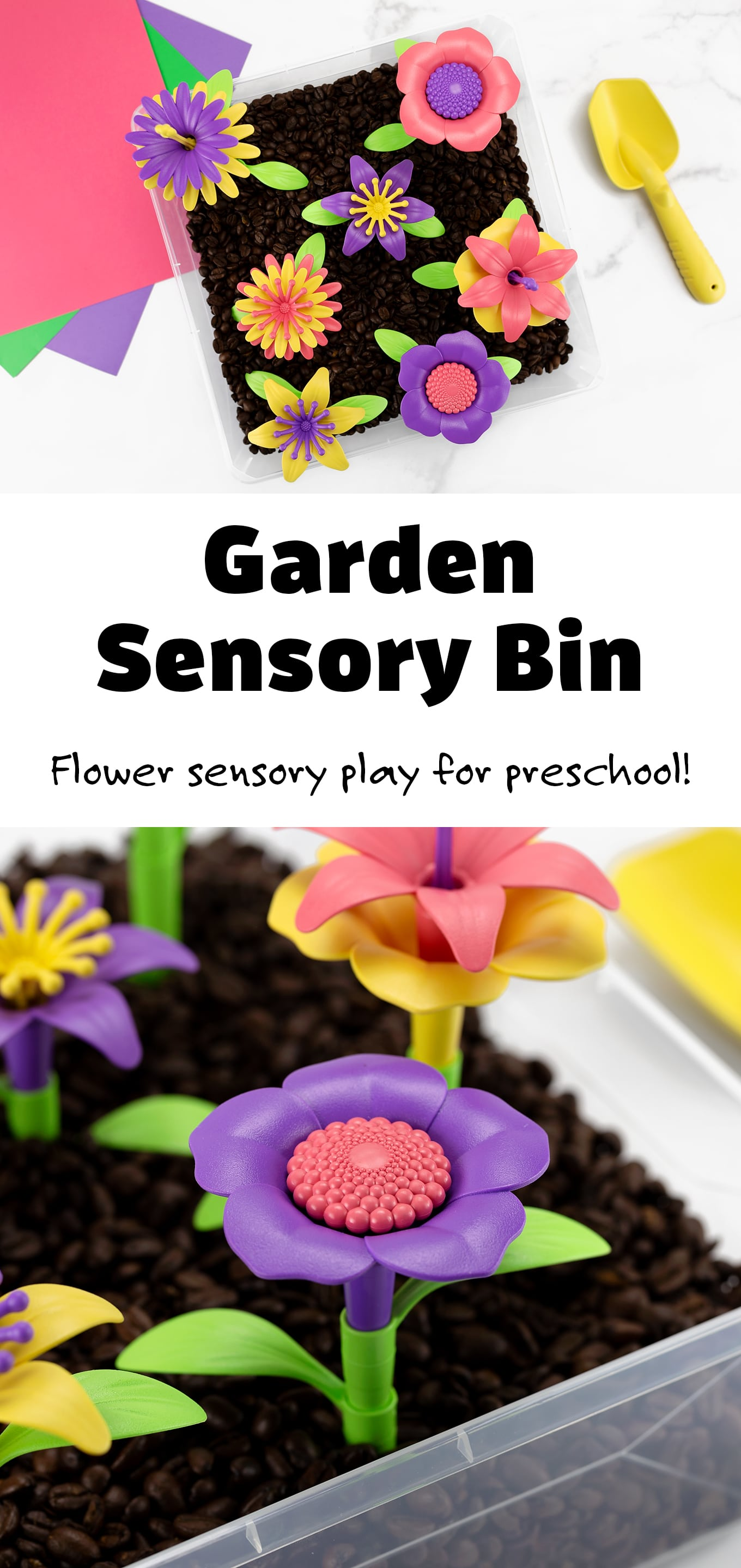 Let's dig into a garden sensory bin for some hands-on play, learning, and fun! This flower sensory bin is a great introduction for toddlers and preschoolers to explore planting and tending to a garden, all while learning about flowers. Turn it into a fun summer unit with some garden picture books, flower crafts, and nature walks. #gardensensorybin #flowersensorybin #kids #sensorybin via @firefliesandmudpies