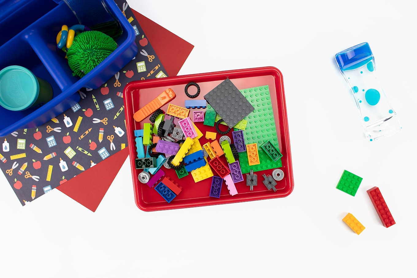 LEGOs on a Mini Sensory Tray