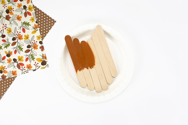 Popsicle Stick Acorn In Process