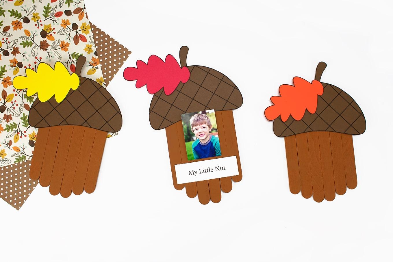 """My Little Nut"" Popsicle Stick Acorn Craft"