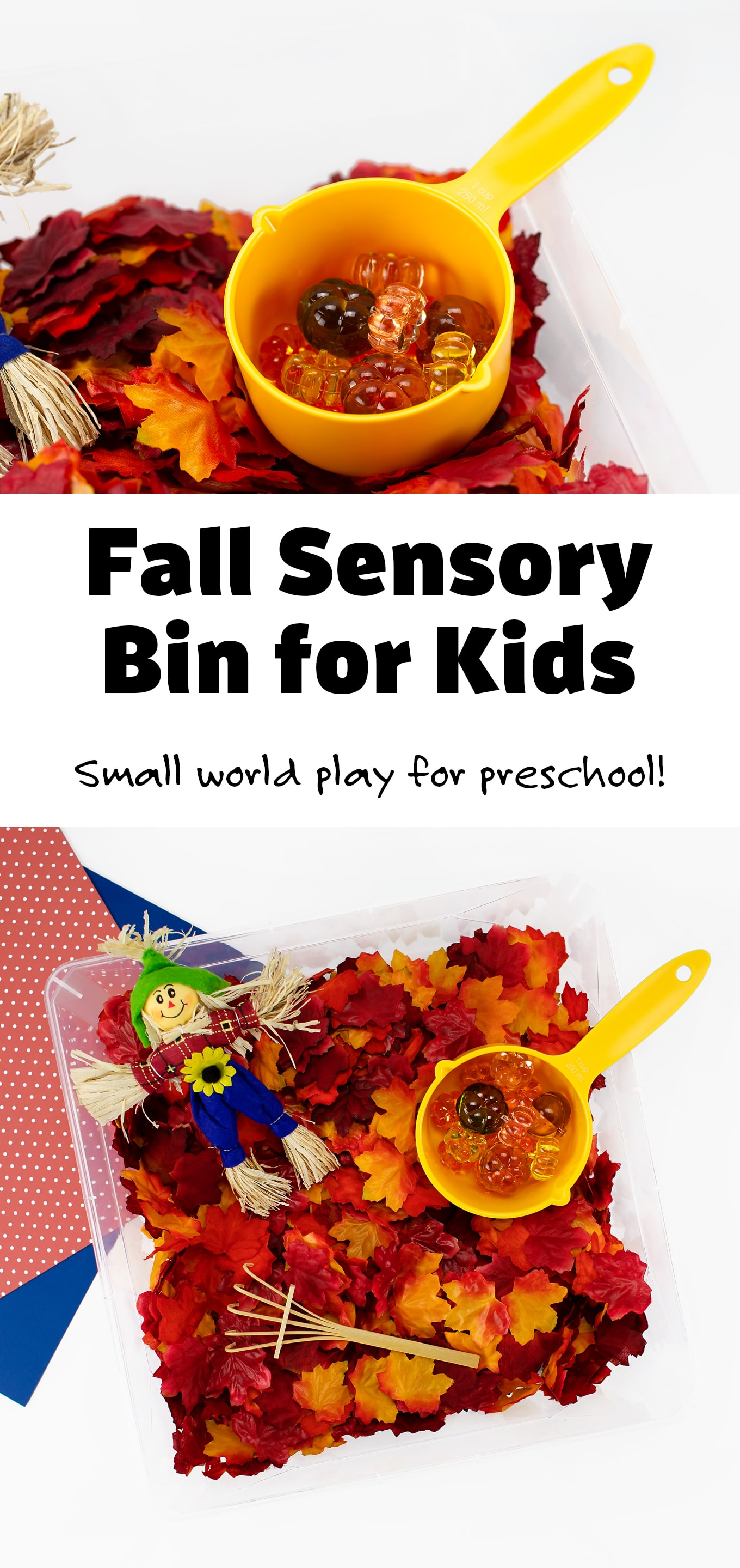 Packed with crunchy fall leaves, shiny gems, and a friendly scarecrow, this fall sensory bin is perfect for autumn learning and play. #fallsensorybin #preschool #craftsforkids via @firefliesandmudpies