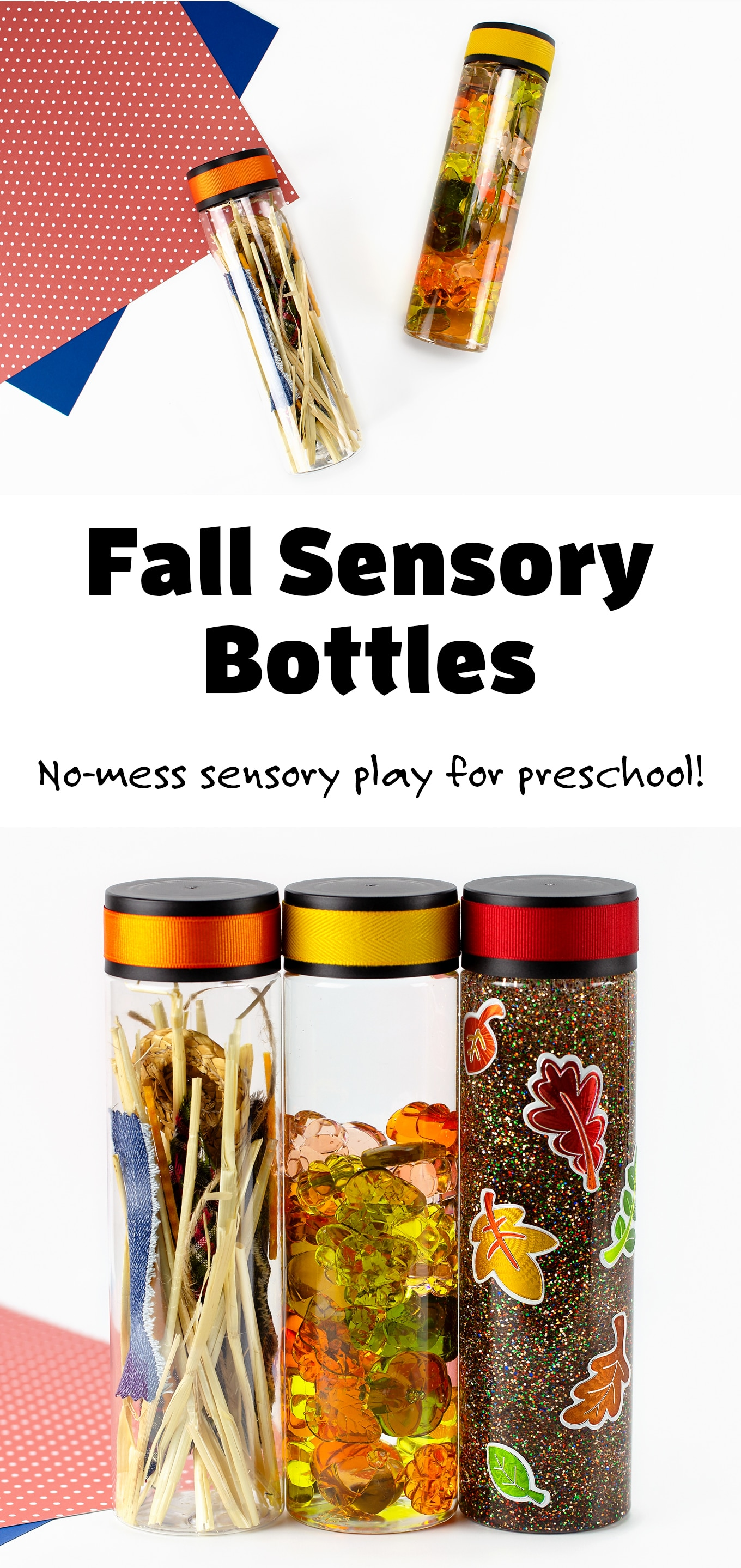 Learn how to make three mesmerizing fall sensory bottles (pumpkin, leaf, and scarecrow) that are perfect for safe, no-mess sensory play at home or at school. DIY sensory play ideas for preschool, toddlers, and older kids! #fallsensorybottles #preschool #sensoryplayideas #kids via @firefliesandmudpies