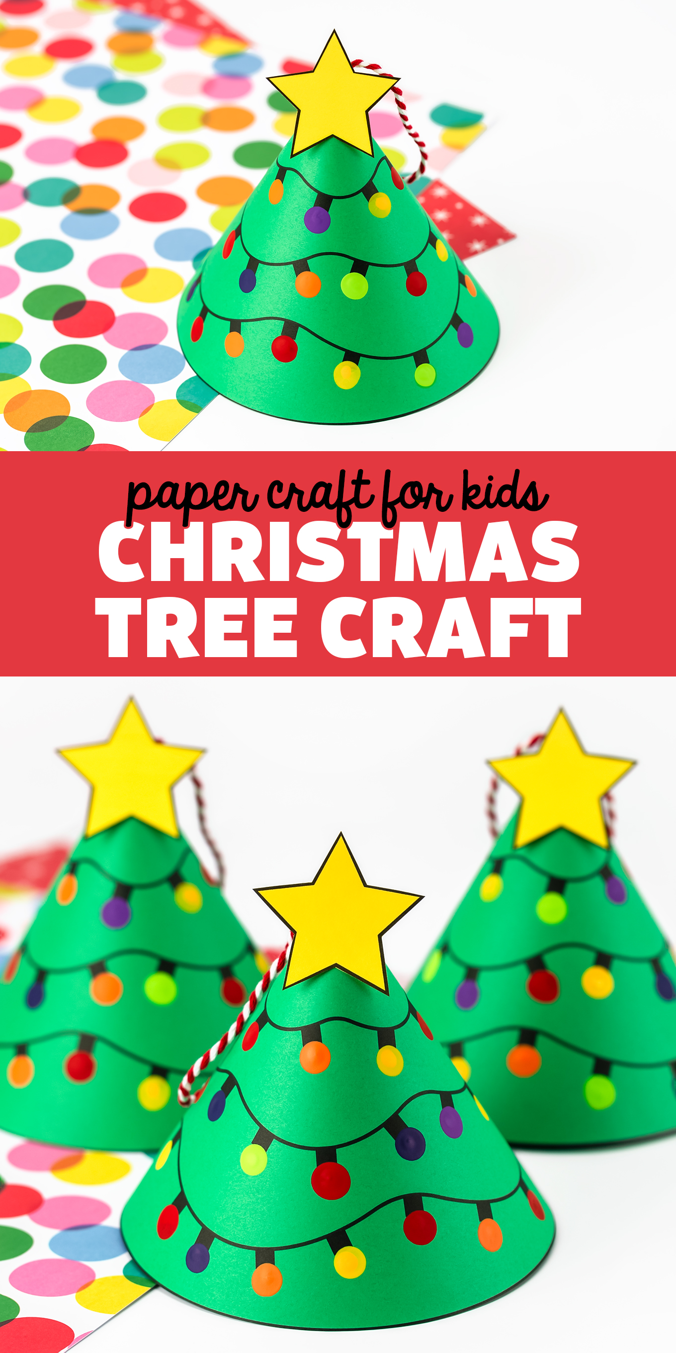 Christmas Tree Craft for Kids - Use our free printable template and video tutorial to learn how to make this easy and fun Christmas Tree Craft ornament for kids! Follow us on Pinterest for more easy kids Christmas crafts! via @firefliesandmudpies