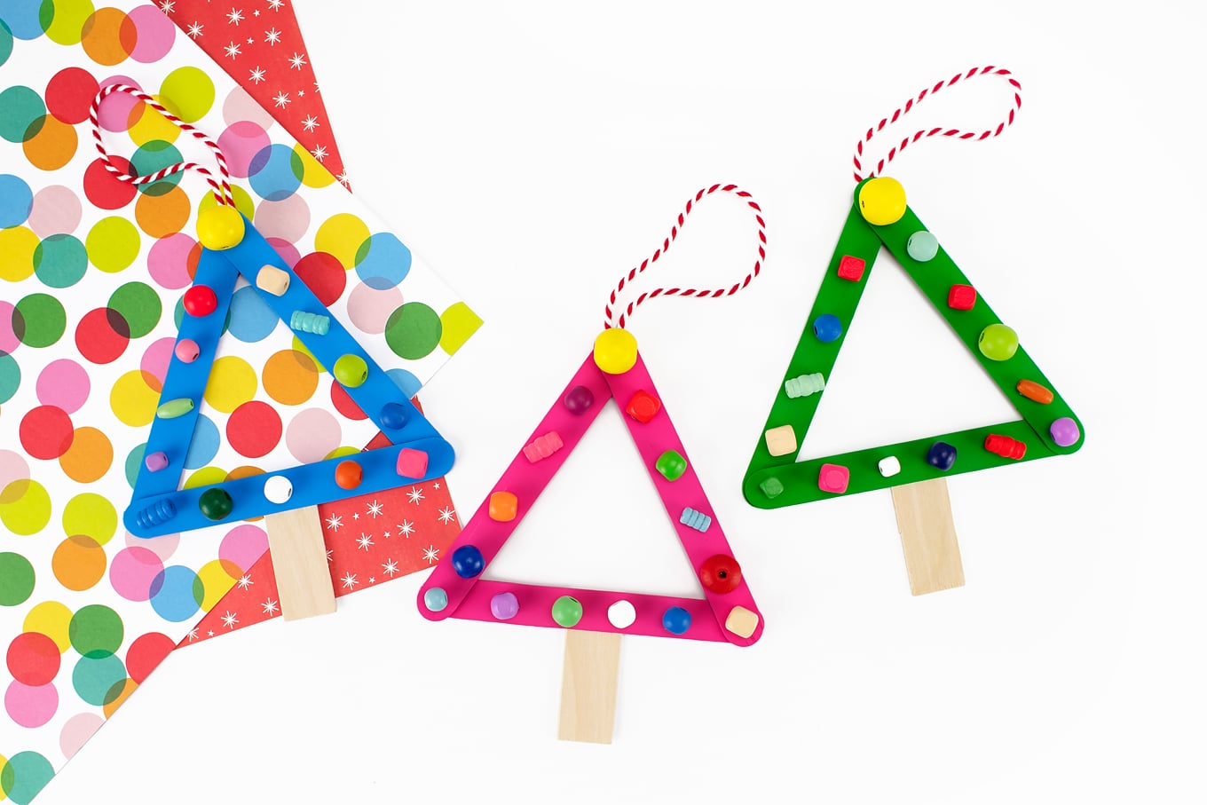 Blue, Pink, and Green Popsicle Stick Christmas Trees