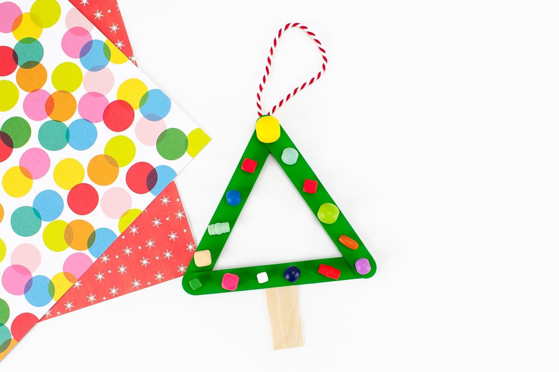 Green Popsicle Stick Tree Ornament
