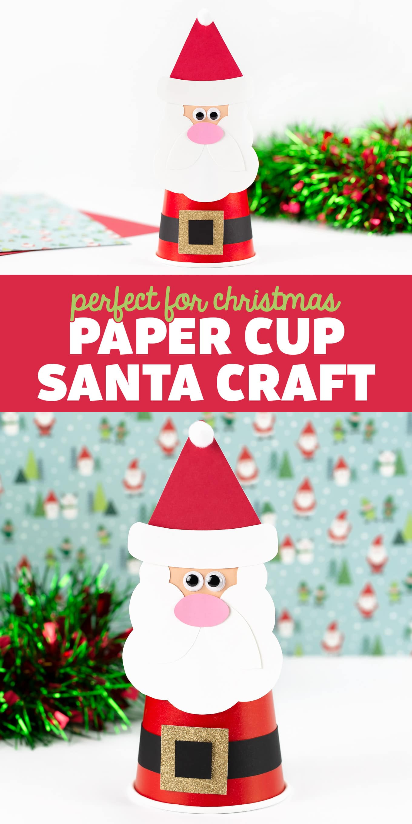 Paper Cup Santa Craft - This festive Paper Cup Santa Craft includes a free printable template, making it easy and fun for kids of all ages! via @firefliesandmudpies