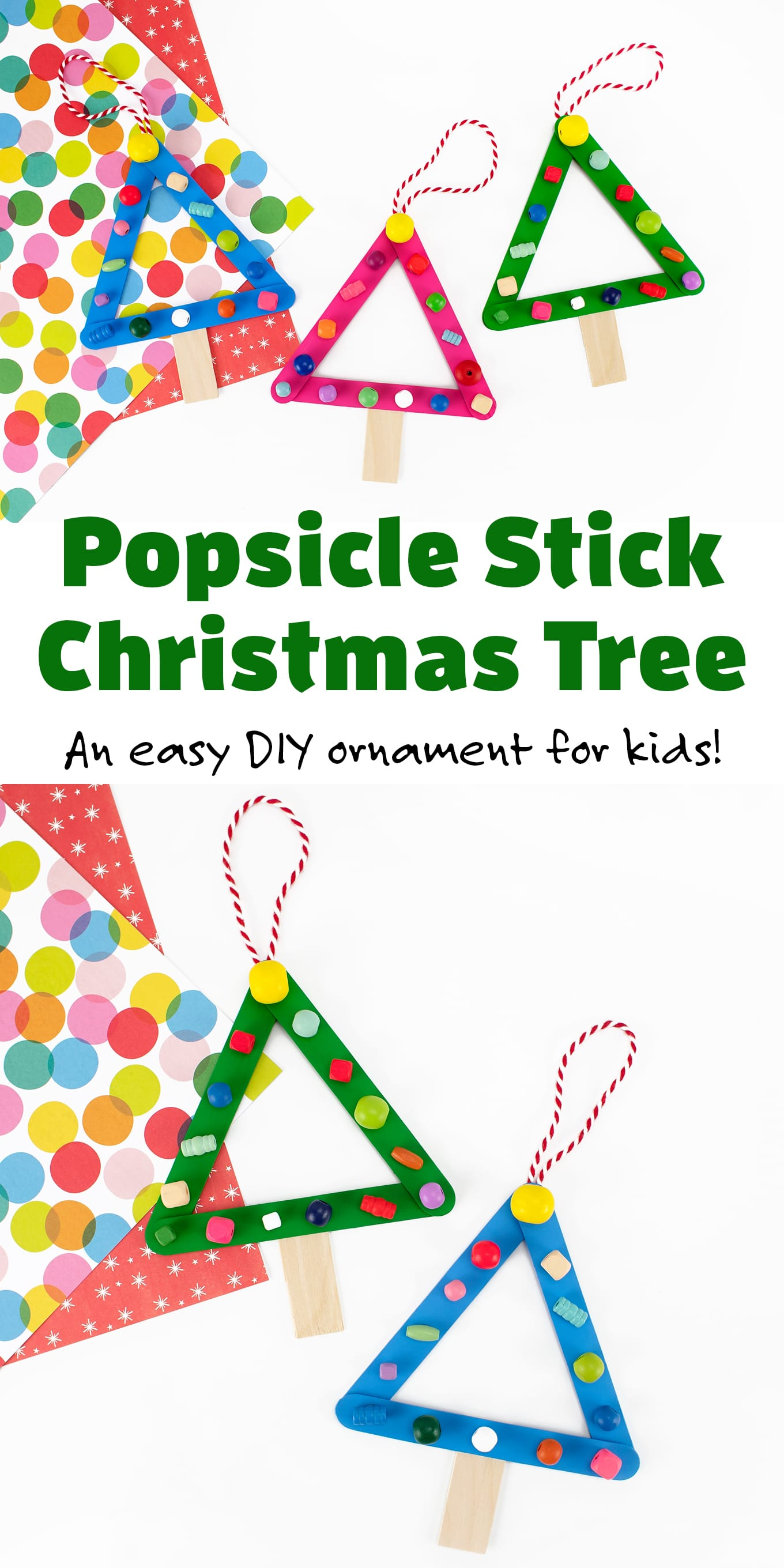 Popsicle Stick Christmas Tree - Made with basic, inexpensive craft supplies, this Popsicle Stick Christmas Tree is the perfect DIY ornament for classroom holiday parties, community Christmas programs, preschool, Scouting, and more! via @firefliesandmudpies