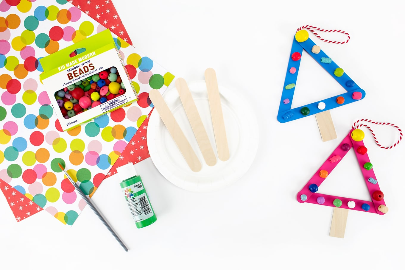 Craft Supplies Needed for Popsicle Stick Christmas Ornament