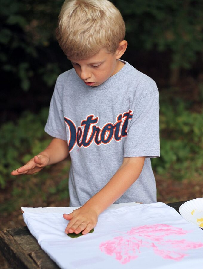 DIY Stamped Leaf Shirts