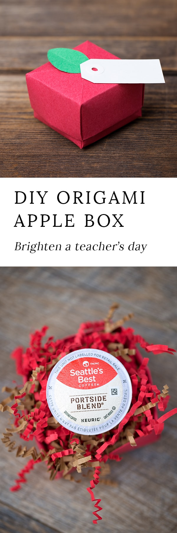 Welcome teachers back to school with a darling origami paper apple box, designed to gift a delicious surprise. This craft includes a printable template!