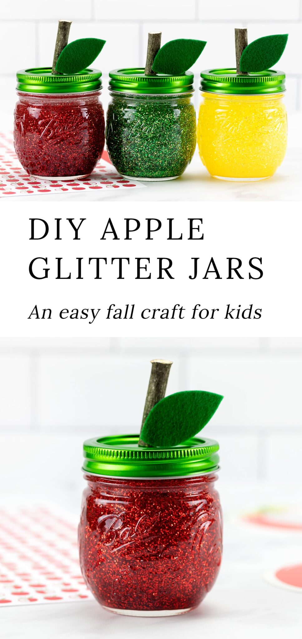Making apple glitter jars to welcome September is an easy and fun mason jar project for kids! In this post, learn how to make red, yellow, and green apple-shaped glitter jars that are perfect for calming back-to-school jitters. #glitterjars #appleglitterjars #fallcrafts via @firefliesandmudpies