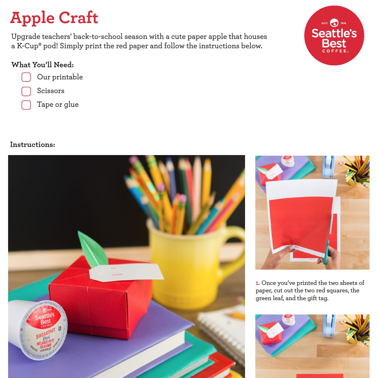 Welcome teachers back to school with a darling paper apple box, designed to house a delicious surprise. This craft includes a free printable template.