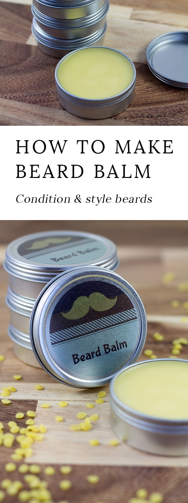 Cedarwood Beard Balm is an easy and thoughtful DIY gift for him that helps keep beards soft and tame during the harsh winter months.