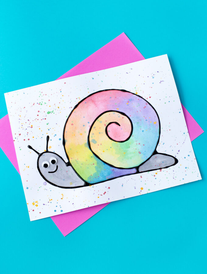 Black Glue and Watercolor Snail Art