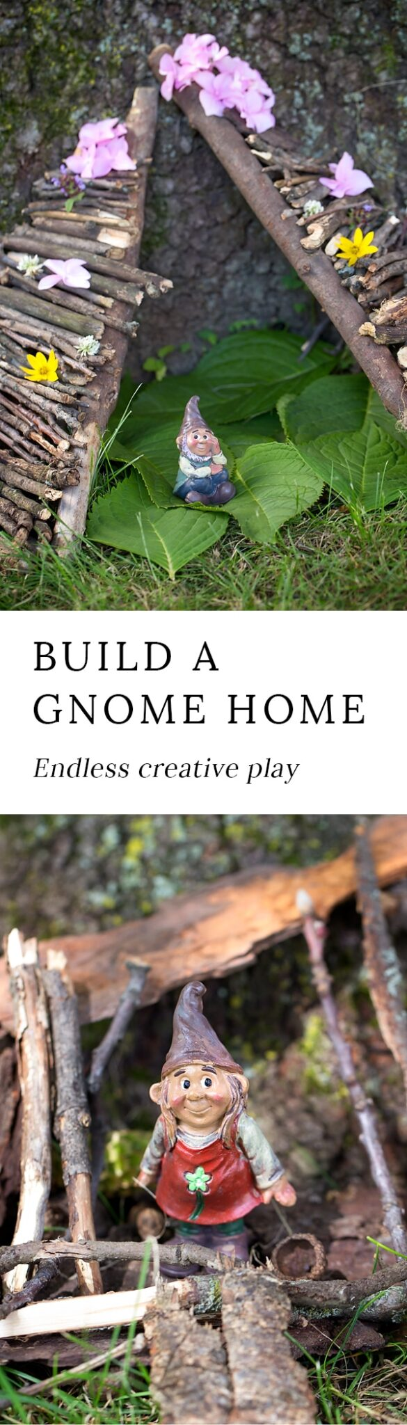 Backyard gnome homes invite children into a magical world where creative play is limitless. Get outside to play with your kids and release your inner child!
