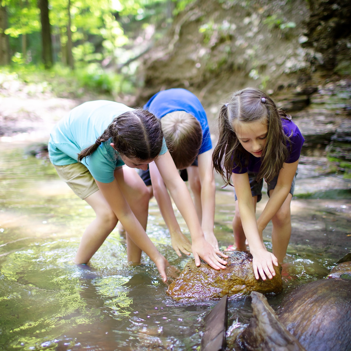 Children Rolling Rock in Creek