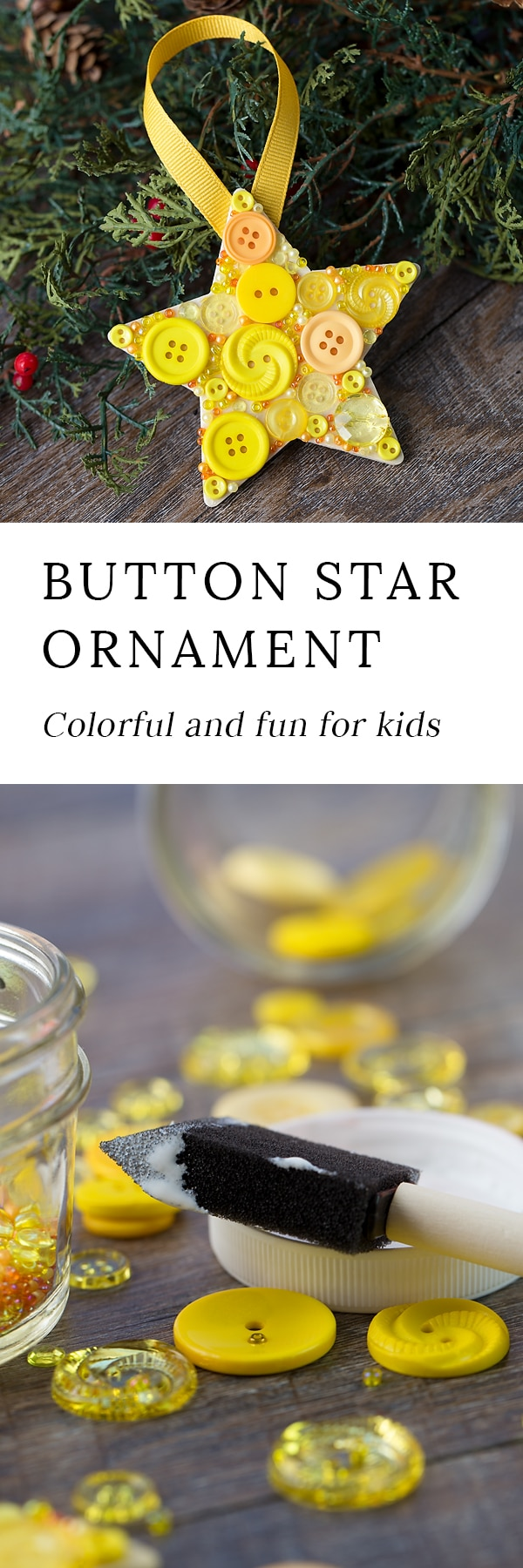 Just in time for Christmas, learn how to make a colorful button star ornament with a wooden star, yellow buttons, and glue.