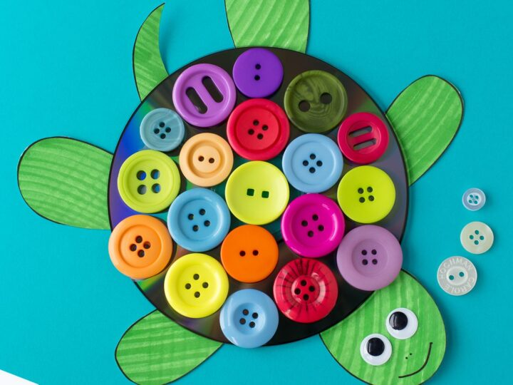 CD and Button Turtle Craft
