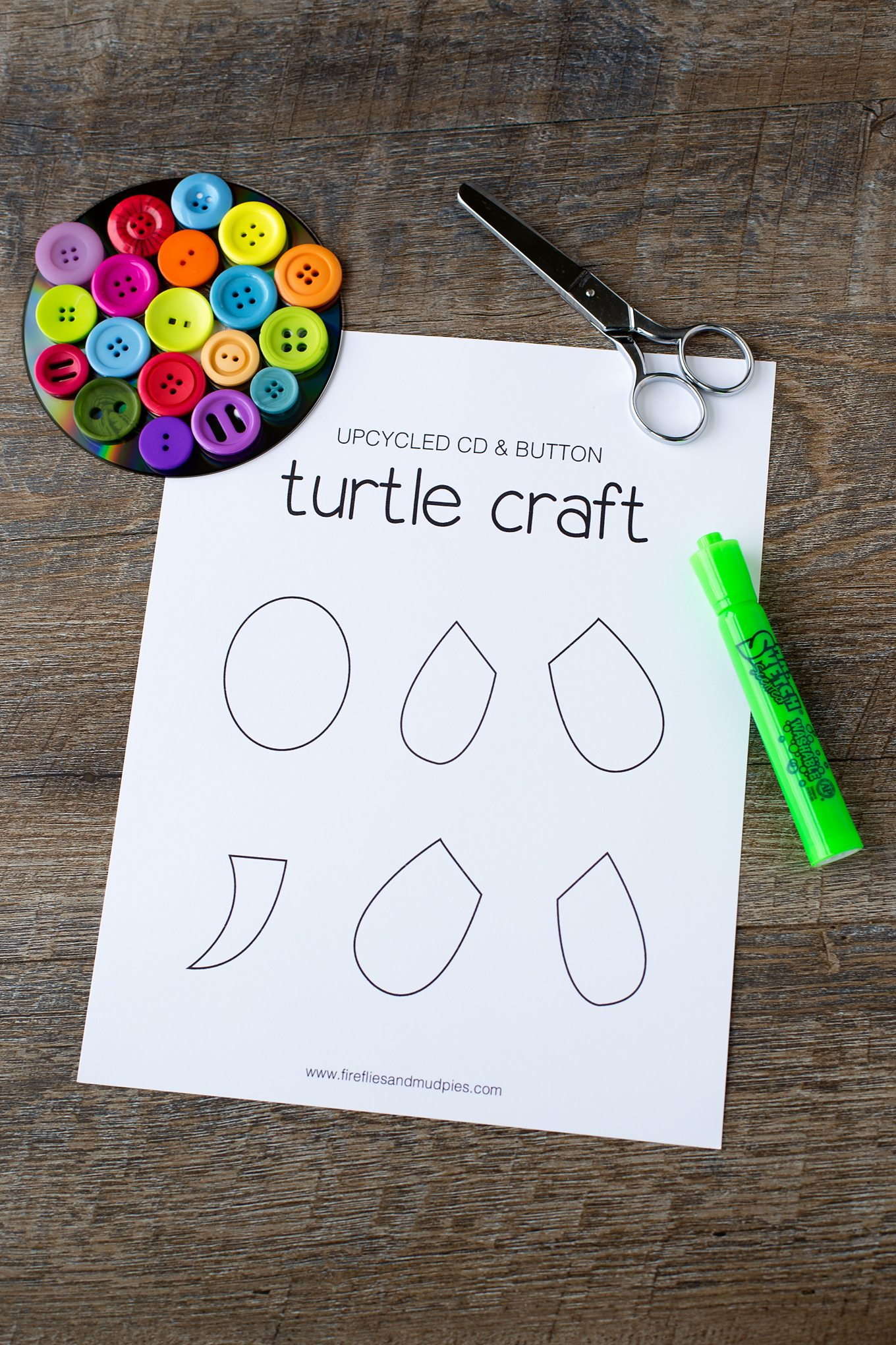 Colorful Cd Button Turtle Craft For Kids Fireflies And Mud Pies
