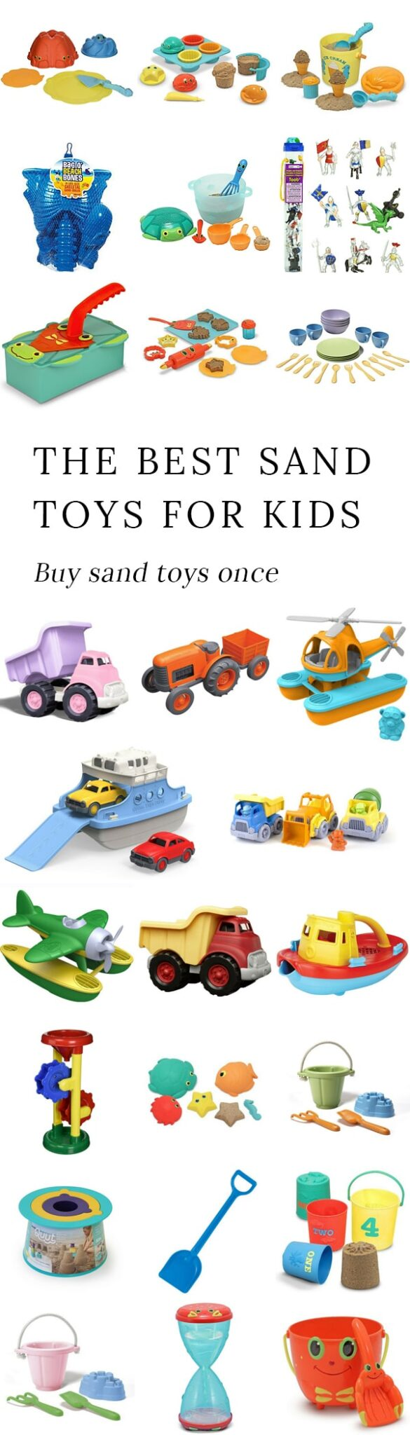Purchasing high-quality sand toys for kids once saves money and prevents pounds of worthless, broken plastic from entering the landfill. #sandtoys #summertoys #giftsforkids #beachtoys #toylist #outdoorplay